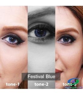 لنز طبی رنگی سالانه  Festival  Morning Blue  Tone2 کد NE1634