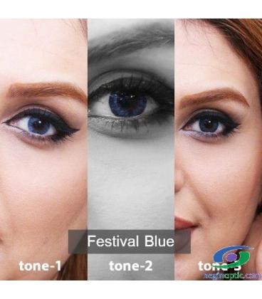 لنز طبی رنگی سالانه 3 Festival  Morning  Blue  Tone کد NE1789