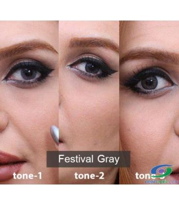 لنز طبی رنگی سالانه 3 Festival Morning Gray Tone کد NE1631