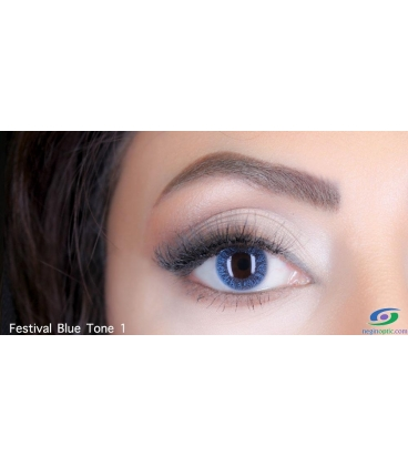 لنز طبی رنگی سالانه Festival Morning Blue 1Tone کد NE1633