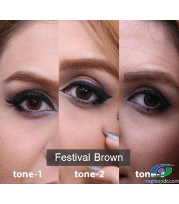 لنز طبی رنگی فصلی Festival Morning Brown Tone2