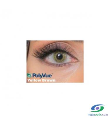 لنز طبی رنگی سالیانه پلی ویو PolyVue رنگ Yellow Brown 2T