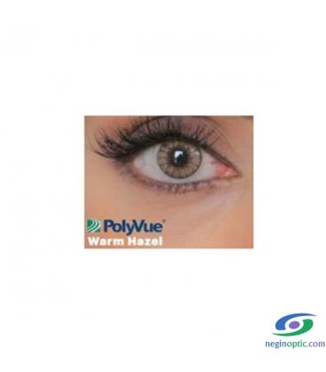 لنز طبی رنگی سالیانه پلی ویو PolyVue رنگ Warm Hazel 2T