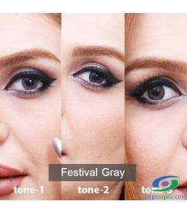 لنز طبی رنگی سالانه  Festival  Morning  Gray 1 Tone کد NE1629