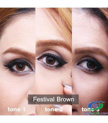 لنز طبی رنگی سالانه Festival  Morning  Brown Tone1