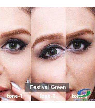 لنز طبی رنگی سالانه Festival Morning Green Tone1